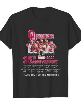 Oklahoma sooners 35th anniversary 1885 2020 thank you for the memories signatures shirt
