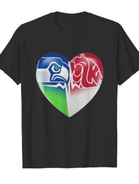 Seattle seahawks and washington state cougars heart shirt