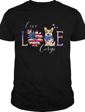 Corgi live love paw sunflower American flag veteran Independence Day shirt