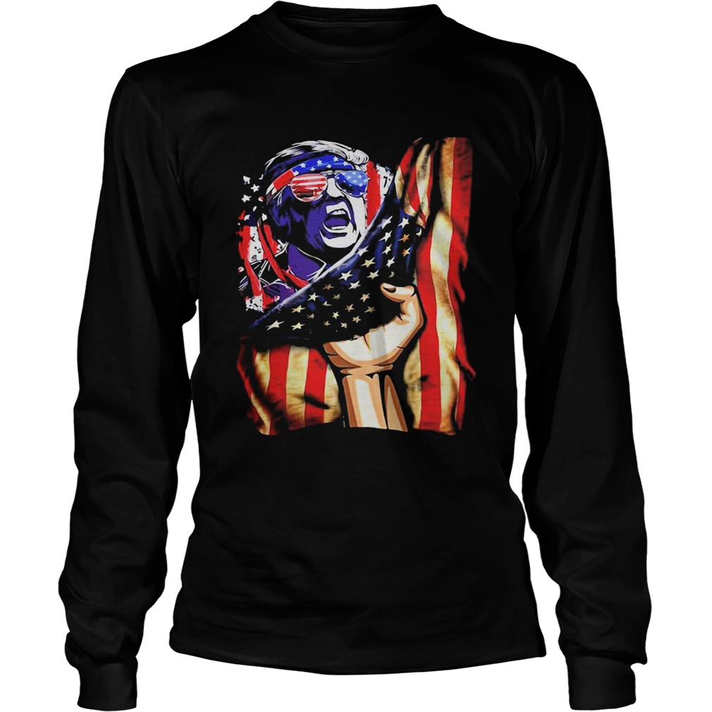 Independence Day Trump glasses flag america  Long Sleeve