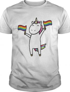 Unicorn holding flag lgbt shirt