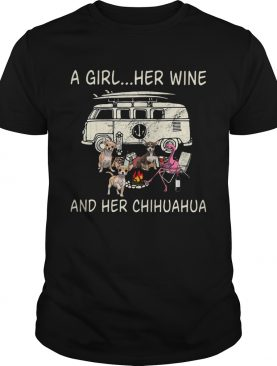 A Girl Her Wine And Her Chihuahua Flamingo Fire Bus shirt