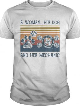 A woman her paw dog and her mechanic vintage retro shirt