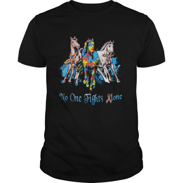 No One Fights Alone Autism Horses shirt