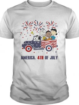 The peanuts characters driving car fire america 4th of july independence day shirt