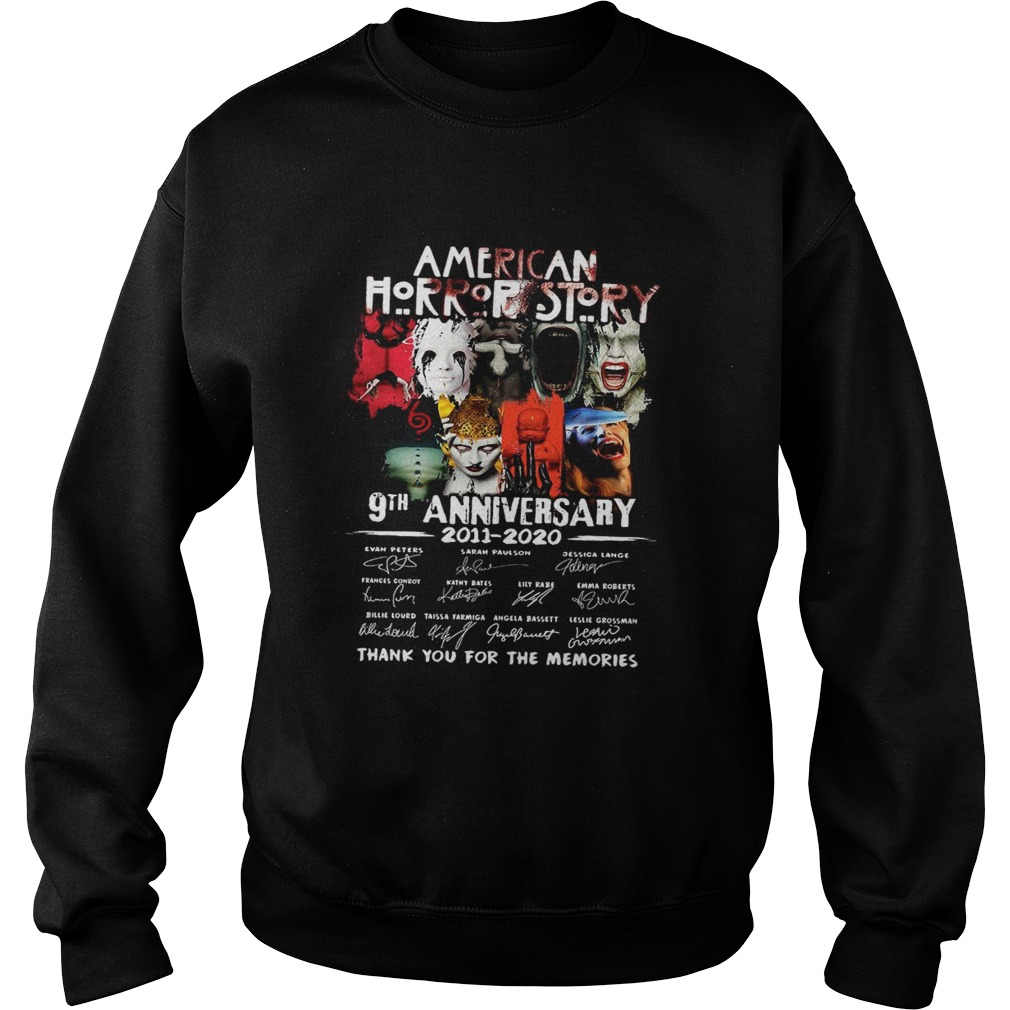 American Horror Story 9th Anniversary 2011 2020 Thank You For The Memories Signatures  Sweatshirt