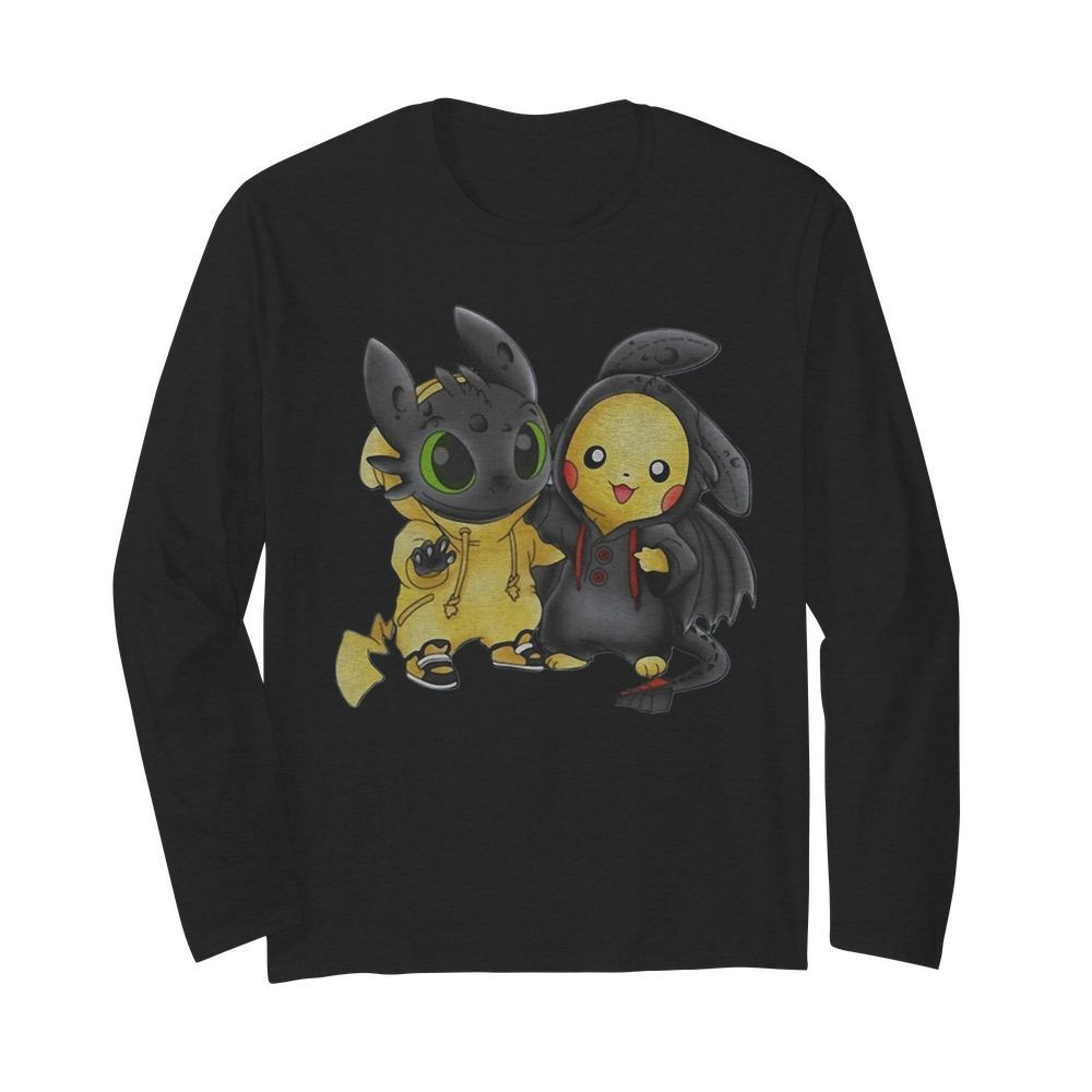 Baby Toothless and Pikachu  Long Sleeved T-shirt