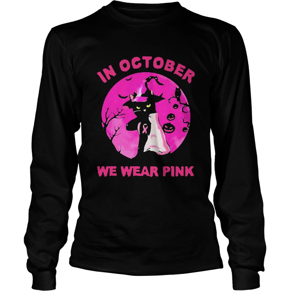 In October We Wear Pink Cat Sunset Halloween  Long Sleeve