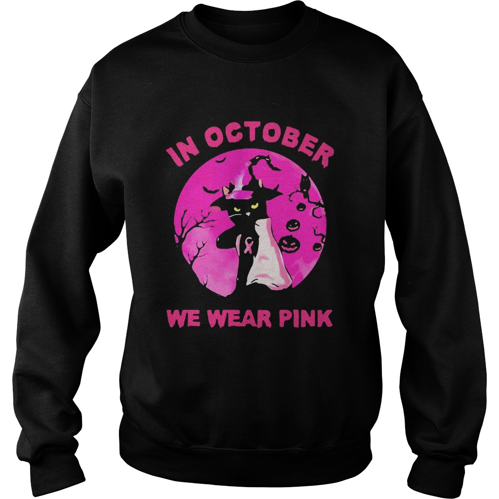 In October We Wear Pink Cat Sunset Halloween  Sweatshirt