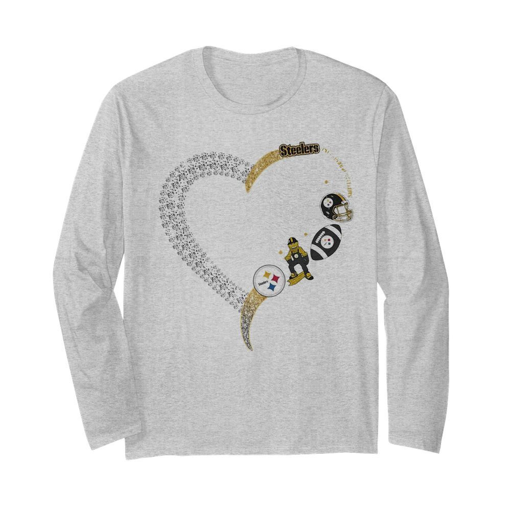 Pittsburgh steelers football logo heart  Long Sleeved T-shirt