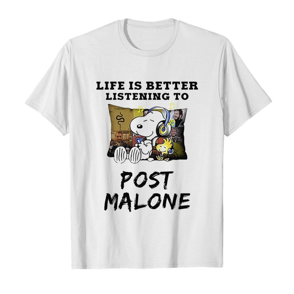 Snoopy and woodstock life is better listening to post malone  Classic Men's T-shirt