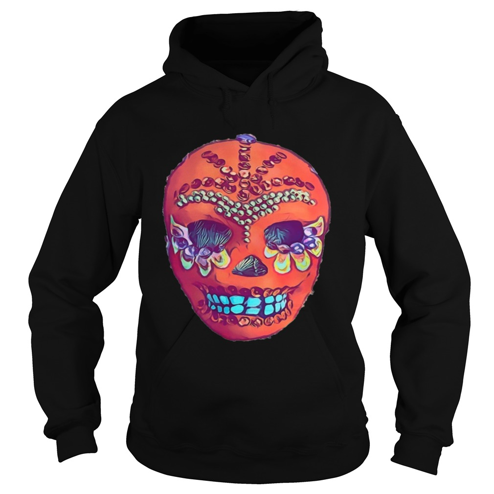Skull Portrait Cool Mexican Orange Day Of The Dead  Hoodie