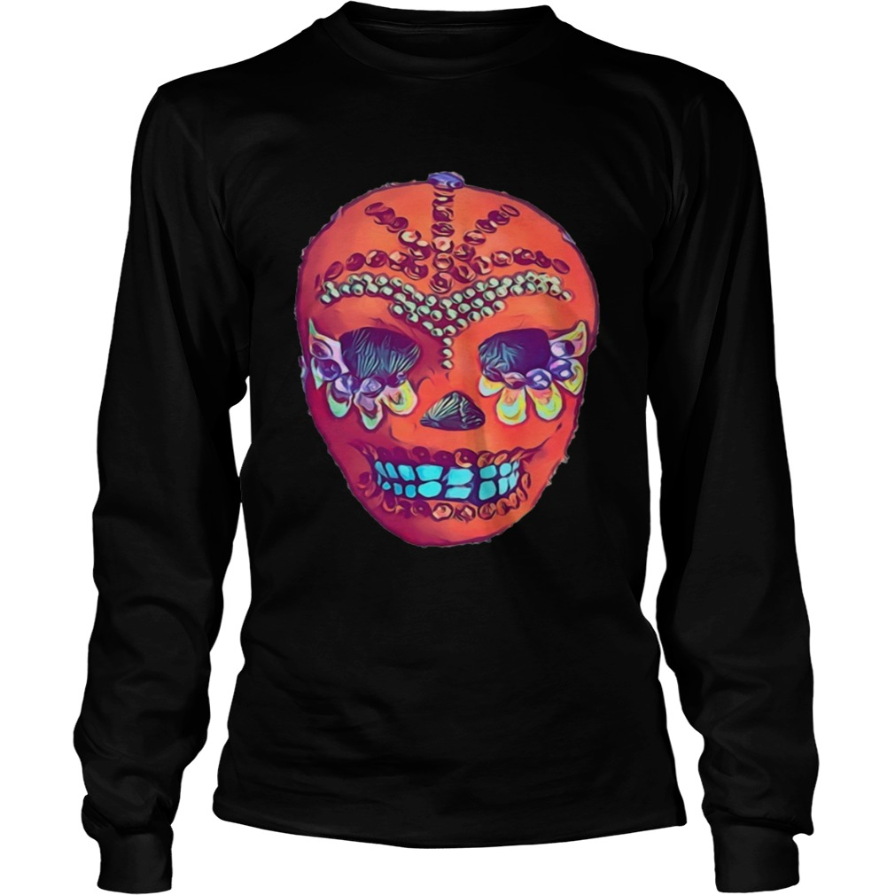 Skull Portrait Cool Mexican Orange Day Of The Dead  Long Sleeve