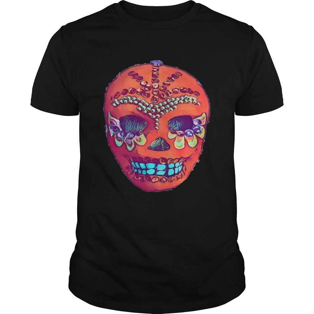Skull Portrait Cool Mexican Orange Day Of The Dead  Unisex