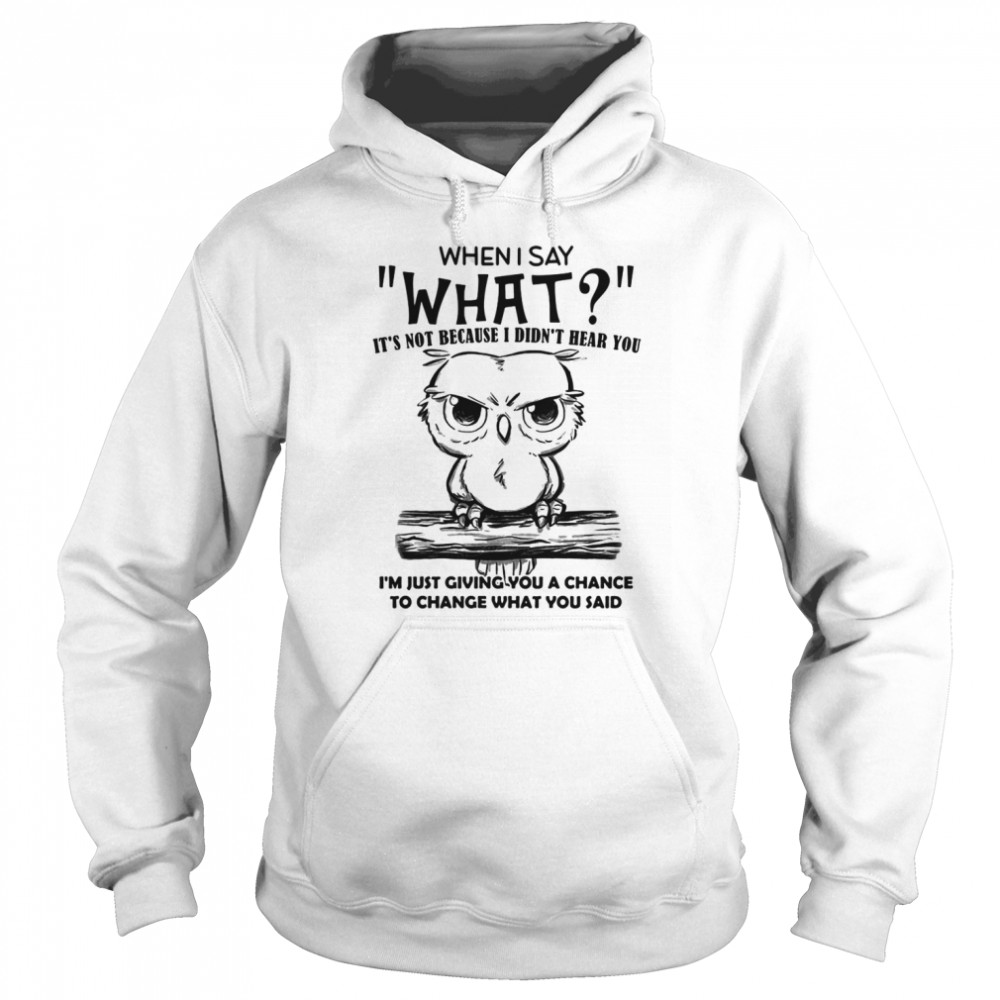 When I Say What It's Not Because I Didn't Hear You I'm Just Giving You A Chance To Change What You Said Owl  Unisex Hoodie