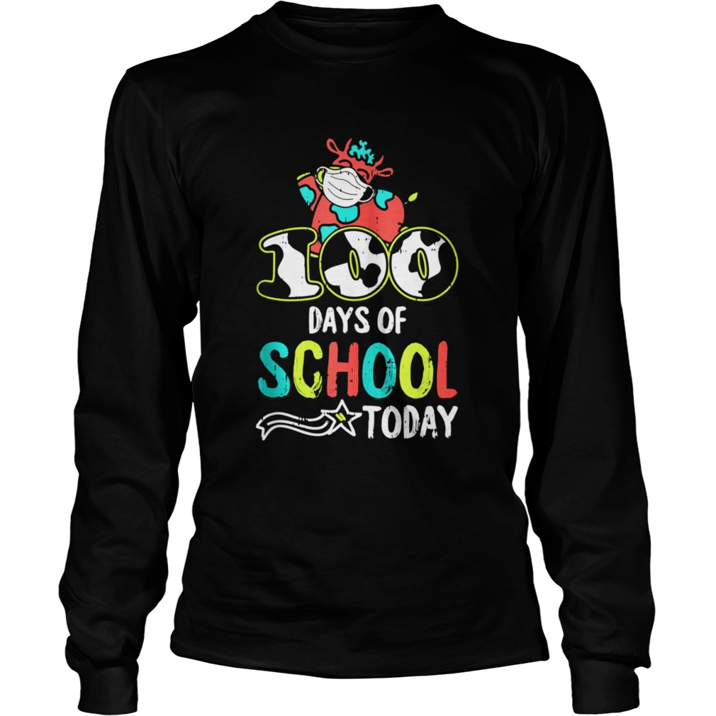 100 Days Of School Today Cow Print Face Mask Quarantine  Long Sleeve