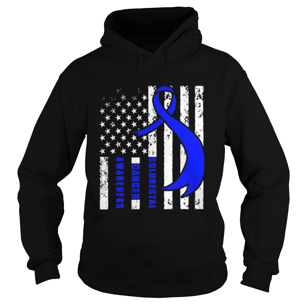 Colorectal Cancer Awareness American Flag Blue Ribbon  Hoodie
