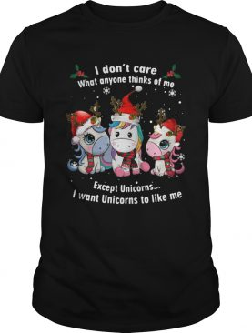 I Dont Care What Anyone Thinks Of Me Except Unicorns Merry Christmas shirt