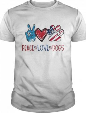 Peace Love Dogs Paw American Flag 4th Of July Independence Day shirt